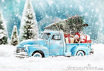 Merry Christmas tree transporter Stock Photo