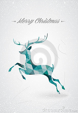 Merry Christmas trendy reindeer postcard