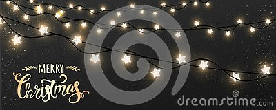 Merry Christmas Typographical on dark background with Xmas decorations glowing white garlands, light, stars. Stock Photo
