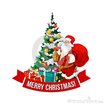 Free Merry Christmas Vector Santa And Tree Icon Stock Image - 104964361