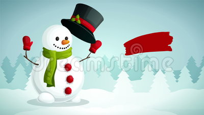Merry Christmas video animation footage. Merry christmas poster visualization with snowman in scarf gloves and hat on winter forest background available in 4k stock illustration