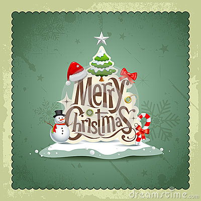 Free Merry Christmas Vintage Design Background Royalty Free Stock Photography - 27900507