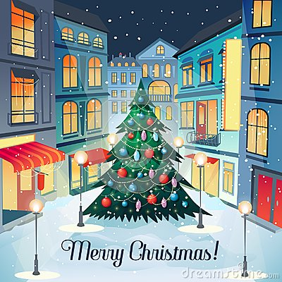 Free Merry Christmas Vintage Greeting Card With Christmas Tree And Cityscape. Happy New Year Postcard. Winter Holidays Royalty Free Stock Images - 101356799