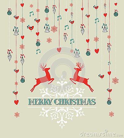 Free Merry Christmas Vintage Reindeer And Bauble Backgr Stock Images - 33756364