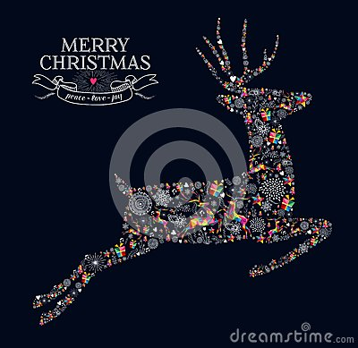 Free Merry Christmas Vintage Reindeer Greeting Card Stock Photography - 45400742