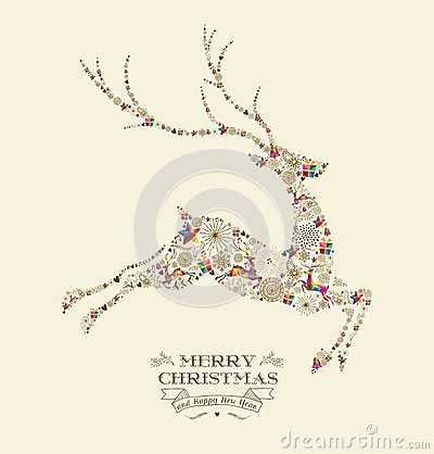 Free Merry Christmas Vintage Reindeer Greeting Card Royalty Free Stock Photo - 45400895