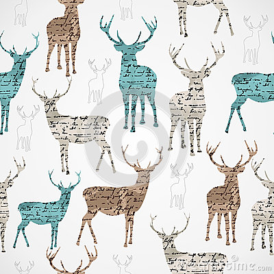 Free Merry Christmas Vintage Reindeer Grunge Seamless Pattern. Royalty Free Stock Images - 33074679