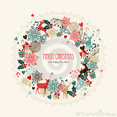 Free Merry Christmas Vintage Wreath Card Royalty Free Stock Images - 35744889