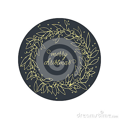 Merry Christmas. Winter Holiday greeting c Vector Illustration