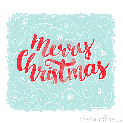 Merry Christmas Words Brush Lettering Text At Blue Vintage – Words for Christmas Card
