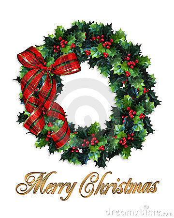 Merry Christmas wreath holly