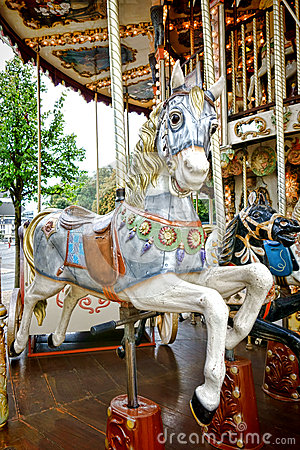 Merry Go Round Amusement Ride Old Carousel Horse