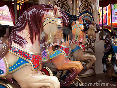 Merry go round carousel horses details