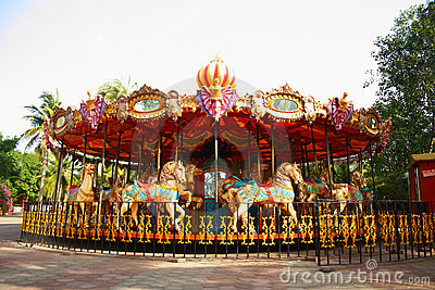 Merry Go Round in Empty Theme Park