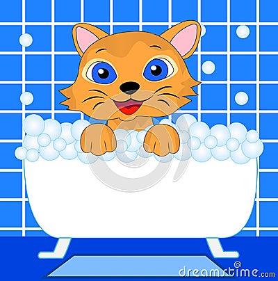 Merry kitten bathes in bath Vector Illustration