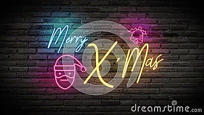 4.000 Merry X'Mas glanzend neonlampen gloed gloed zwarte stenen muur kleurrijk tekenbord met tekst Merry X'Mas, cartoon Santa Cla stock video