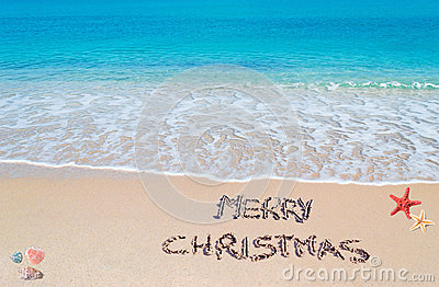 Merry sandy Christmas Stock Photo