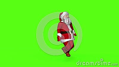 Merry Santa Claus in een rood pak danst 3 d renderen op een groen scherm stock footage