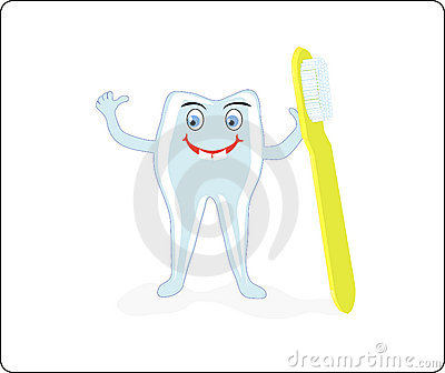 A merry tooth with a brush and paste