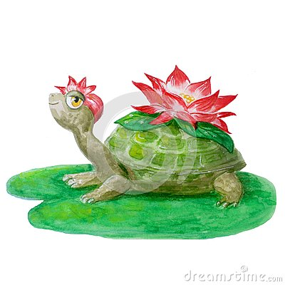 Merry watercolor turtle with a flower. Hand-drawn smiling animal isolated on a white background for children`s design Stock Photo