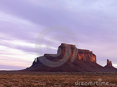 Mesa in Monument Valley at Dusk