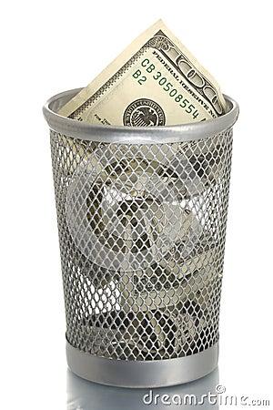 Mesh trash bin with hundred dollars