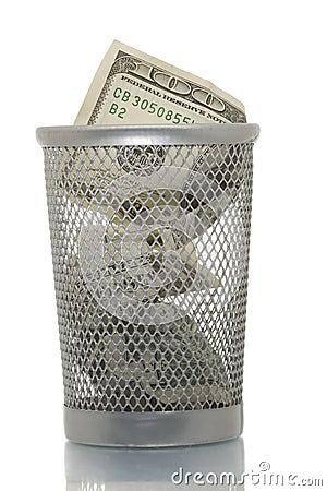 Free Mesh Trash Bin With Hundred Dollars Royalty Free Stock Image - 4453916