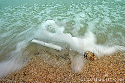 Message in a bottle in the waves