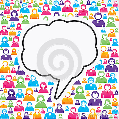 Message bubble with in group of people Vector Illustration