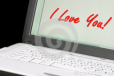 Message on a laptop.