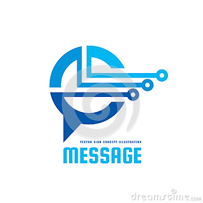 Free Message - Vector Logo Template Concept Illustration. Speech Bubble Creative Sign. Internet Chat Icon. Modern Computer Technology. Royalty Free Stock Photo - 91559975
