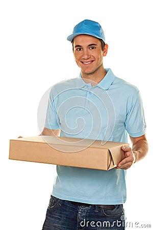 Messenger of messenger service delivers parcel