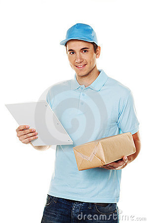 Free Messenger Of Messenger Service Delivers Parcel Stock Photo - 18610790