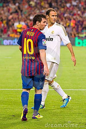 Messi and Carvalho Editorial Stock Photo