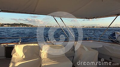 Messina Strait from luxury yacht stock footage