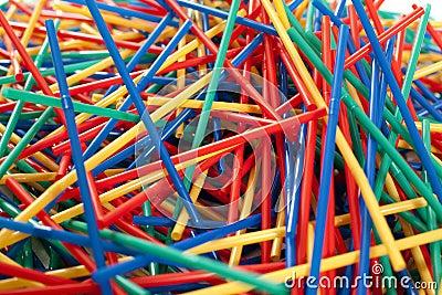Messy arragement of plastic straws