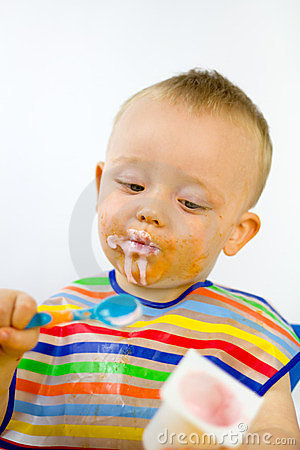 Messy Baby Checks Calorie Content