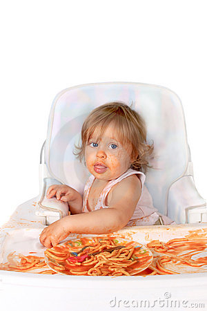 Free Messy Baby Girl Eating Spaghetti Stock Photography - 15493822