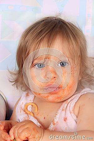 Free Messy Baby Girl Eating Spaghetti Royalty Free Stock Image - 15493826