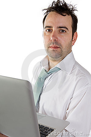 Free Messy Business Man With Laptop Stock Photo - 6861280