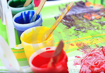 Messy children 39 s paint set stock photo image 17624070 - Resource com verven ...