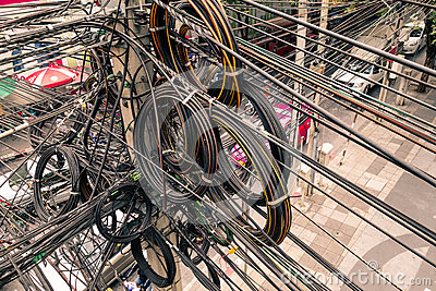 Messy electrical cables in Bangkok city