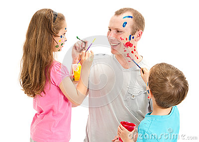 Messy face painting man and kids