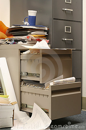 Free Messy Filing Cabinet Stock Image - 16344511