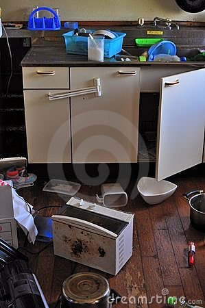 Messy house due to Japan earthquake Editorial Stock Image