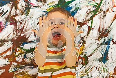 Messy kid screaming