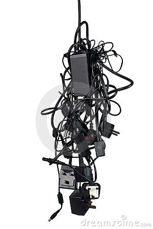 Free Messy Power Adaptor Cables Stock Photography - 20482842