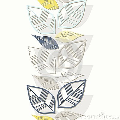 Colorful retro leaves vertical border