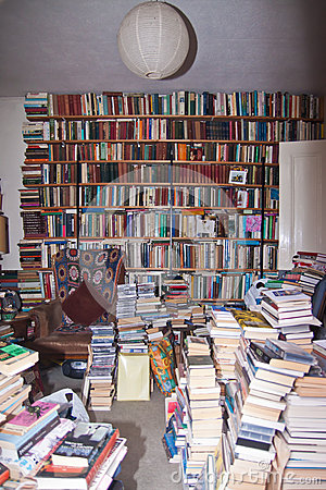 Free Messy Room Full Of Books Royalty Free Stock Image - 46887706
