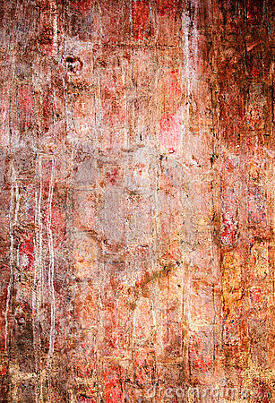 Messy saturated red brick wall